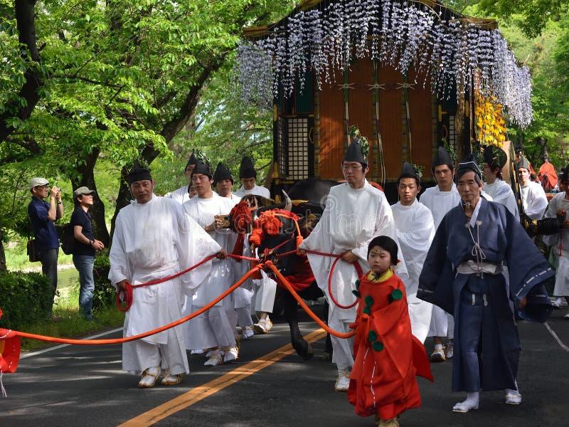 Η παρέλαση του φεστιβάλ του Κιότο Aoi, Ιαπωνία στοκ εικόνες