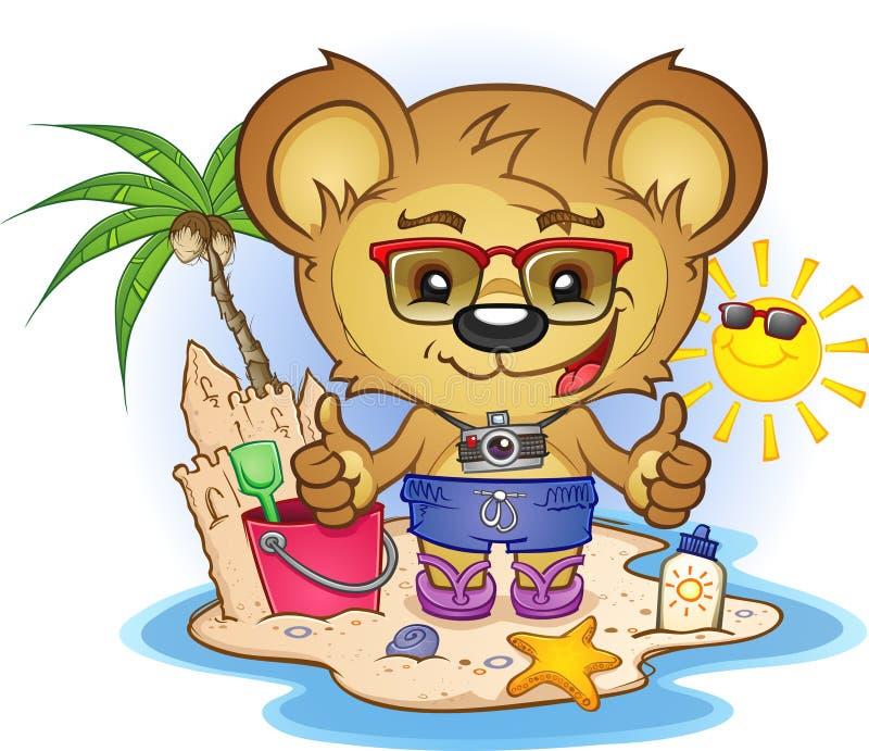 η παραλία αντέχει teddy διανυσματική απεικόνιση