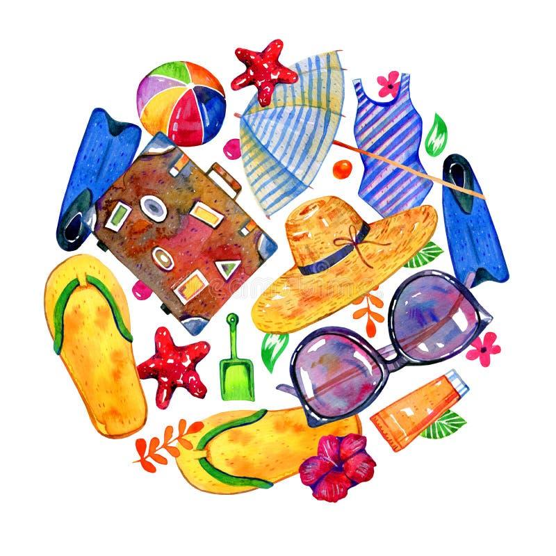 Η παραλία αντιτίθεται στη στρογγυλή σύνθεση - parasol, βατραχοπέδιλα, βαλίτσα, σφαίρα, καπέλο, μαγιό E απεικόνιση αποθεμάτων