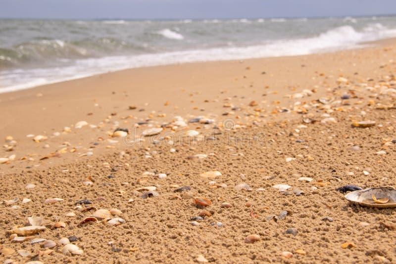 Η παραλία και η κυματιστή Μαύρη Θάλασσα πίσω στοκ φωτογραφία