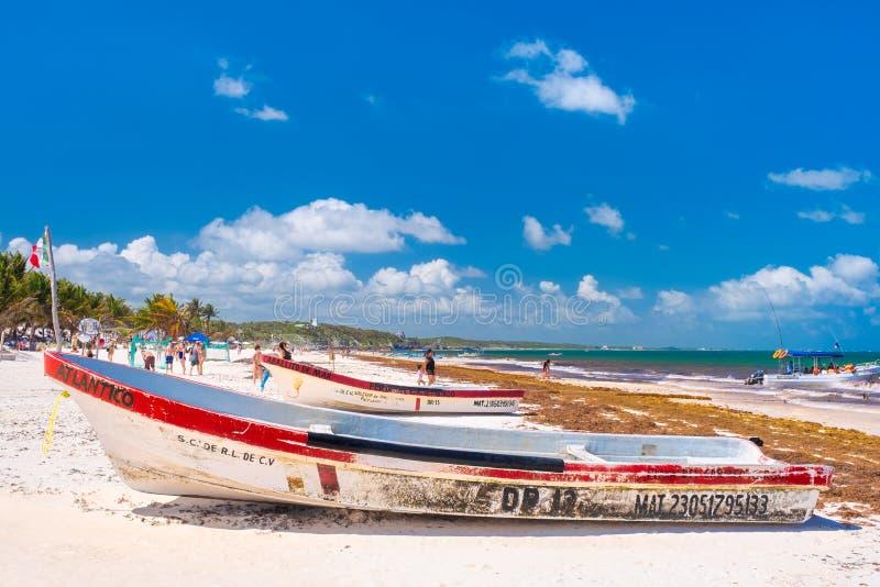 Η παραλία σε Tulum στο των Μάγια riviera στο Μεξικό στοκ εικόνες