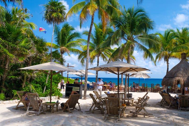 Η παραλία στο πάρκο XCaret στο των Μάγια Riviera στο Μεξικό στοκ φωτογραφία