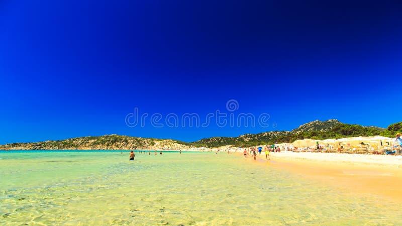 Η παραλία Chia SU Giudeu, Σαρδηνία στοκ εικόνα