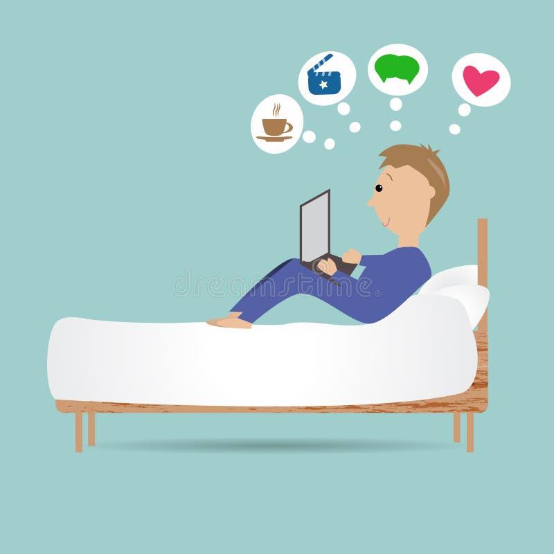 Η παραμονή ατόμων στο κρεβάτι χρησιμοποιεί το lap-top για το σερφ του Διαδικτύου ελεύθερη απεικόνιση δικαιώματος