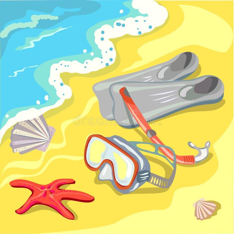 Η παραλία με μια μάσκα, κολυμπά με αναπνευτήρα και πτερύγια διανυσματική απεικόνιση