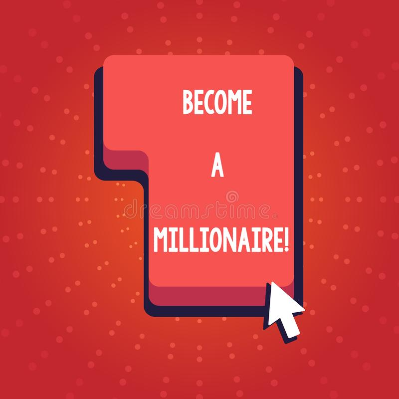 Η παρουσίαση σημαδιών κειμένων γίνεται εκατομμυριούχος Εννοιολογικό άτομο φωτογραφιών ο του οποίου πλούτος είναι ίσος ή υπερβαίνε διανυσματική απεικόνιση