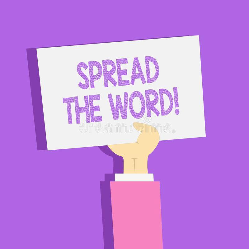 Η παρουσίαση σημαδιών κειμένων διέδωσε το Word Η εννοιολογική φωτογραφία μοιράζεται τις πληροφορίες ή τις ειδήσεις χρησιμοποιώντα ελεύθερη απεικόνιση δικαιώματος