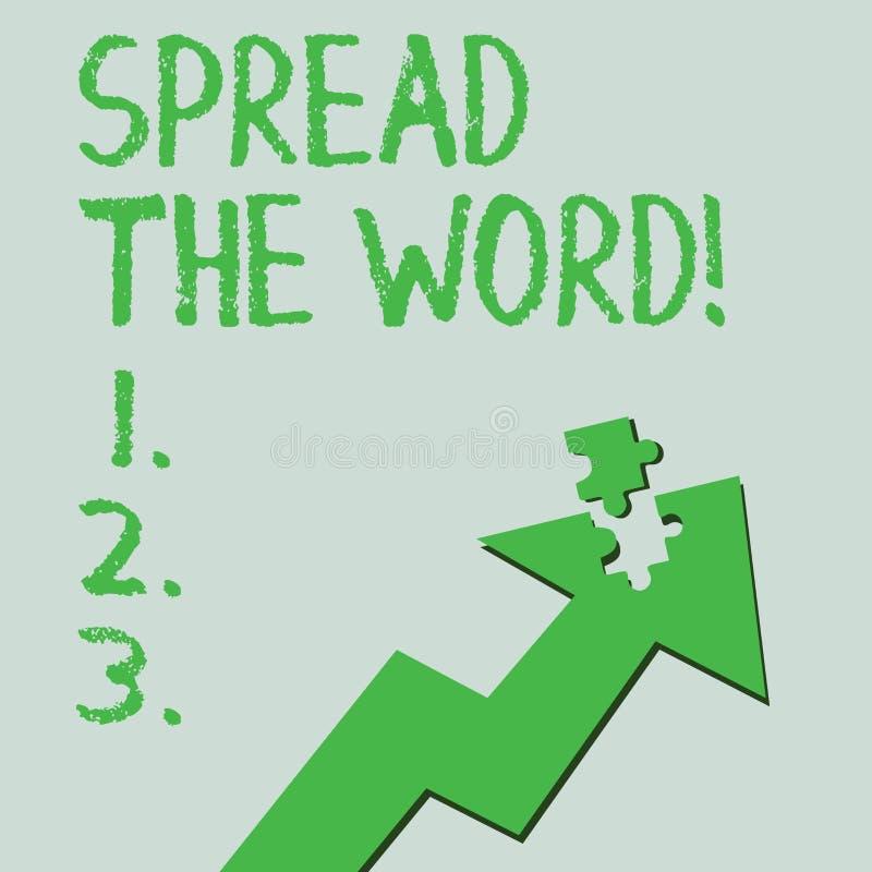Η παρουσίαση σημαδιών κειμένων διέδωσε το Word Η εννοιολογική φωτογραφία μοιράζεται τις πληροφορίες ή τις ειδήσεις χρησιμοποιώντα διανυσματική απεικόνιση