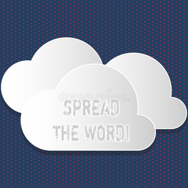 Η παρουσίαση σημαδιών κειμένων διέδωσε το Word Η εννοιολογική φωτογραφία μοιράζεται τις πληροφορίες ή τις ειδήσεις χρησιμοποιώντα απεικόνιση αποθεμάτων