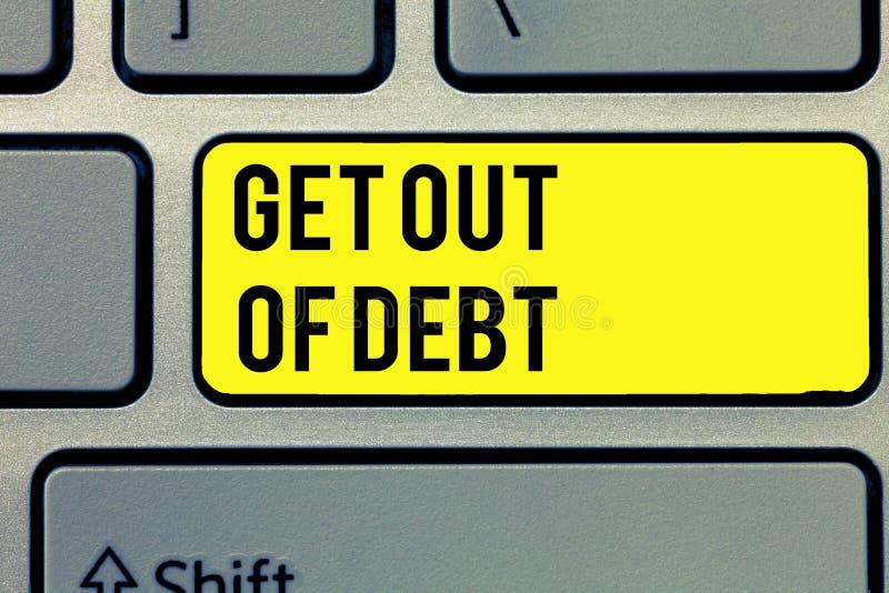 Η παρουσίαση σημαδιών κειμένων παίρνει από το χρέος Εννοιολογική φωτογραφία καμία προοπτική να πληρωθεί άλλο και απαλλαγμένος από στοκ φωτογραφία με δικαίωμα ελεύθερης χρήσης