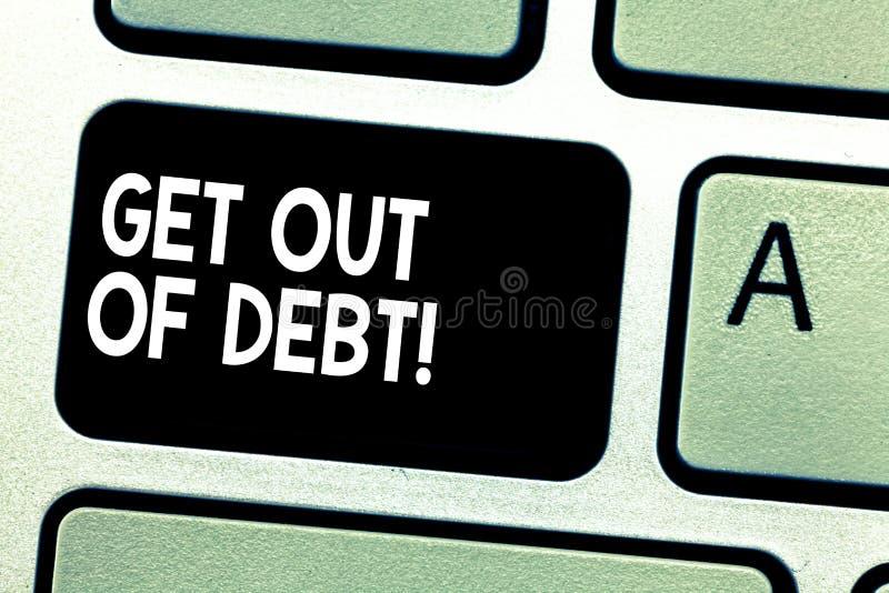 Η παρουσίαση σημαδιών κειμένων παίρνει από το χρέος Εννοιολογική φωτογραφία καμία προοπτική να πληρωθεί άλλο και απαλλαγμένος από στοκ εικόνες