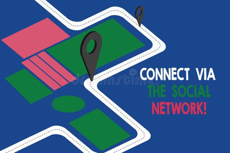Η παρουσίαση σημαδιών κειμένων συνδέει μέσω του κοινωνικού δικτύου Εννοιολογικός οδικός χάρτης προόδου δικτύωσης επικοινωνιών φωτ διανυσματική απεικόνιση