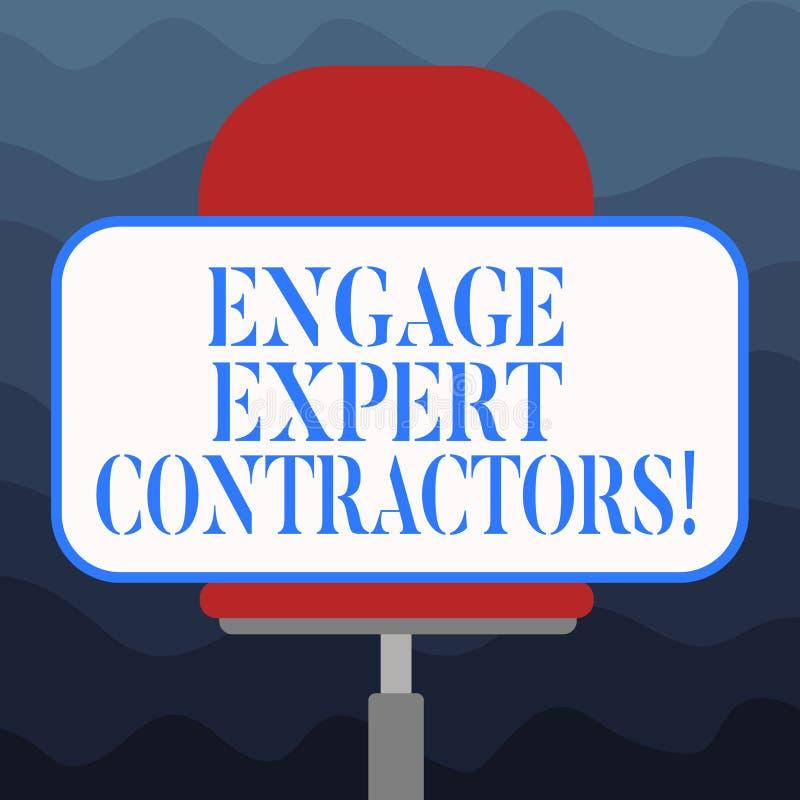 Η παρουσίαση σημειώσεων γραψίματος δεσμεύει τους ειδικούς αναδόχους Ειδικευμένα outworkers μίσθωσης επίδειξης επιχειρησιακών φωτο διανυσματική απεικόνιση