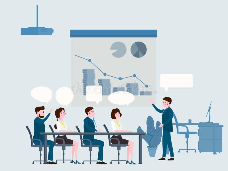 Η παρουσίαση του προγράμματος, των επιχειρηματιών που συναντιούνται, της ομαδικής εργασίας ή του 'brainstorming' με την ομιλία βρ απεικόνιση αποθεμάτων