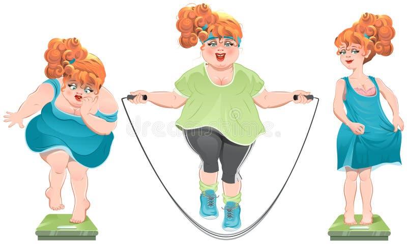 Η παχιά γυναίκα κοιτάζει επίμονα στις κλίμακες Έχασε το βάρος Λεπτό κοκκινομάλλες κορίτσι που στέκεται στις κλίμακες διανυσματική απεικόνιση