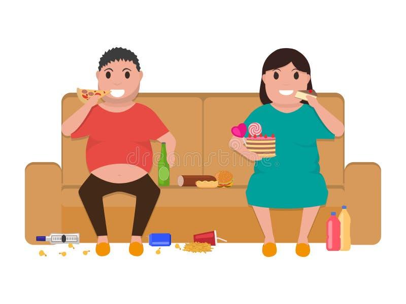Η παχιά συνεδρίαση γυναικών ανδρών κινούμενων σχεδίων στον καναπέ τρώει τα τρόφιμα ελεύθερη απεικόνιση δικαιώματος