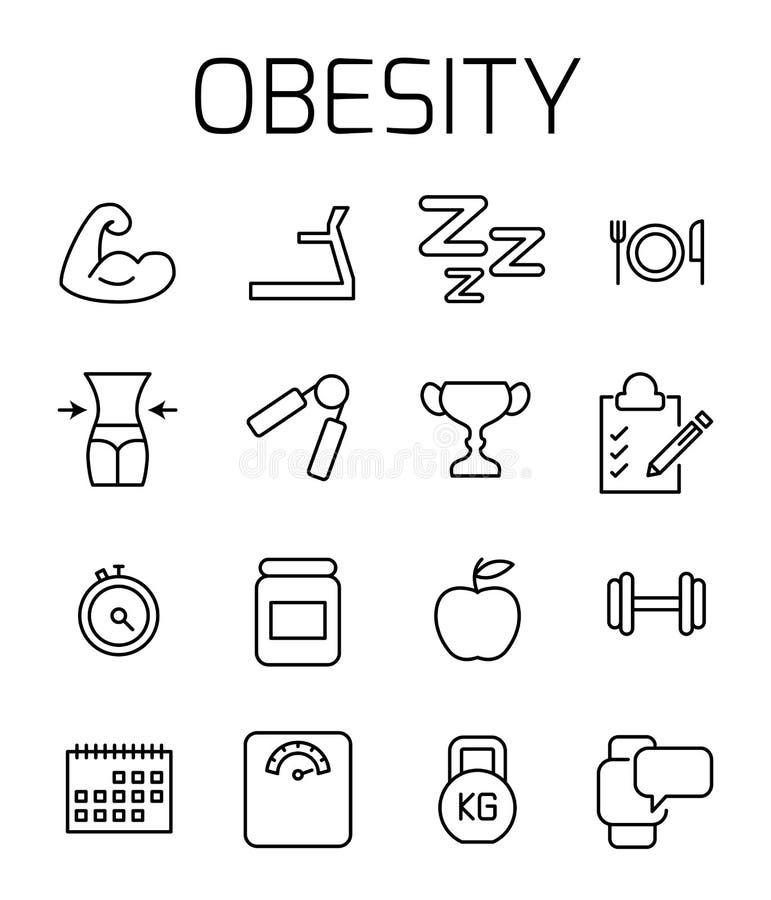 Η παχυσαρκία αφορούσε το διανυσματικό σύνολο εικονιδίων διανυσματική απεικόνιση