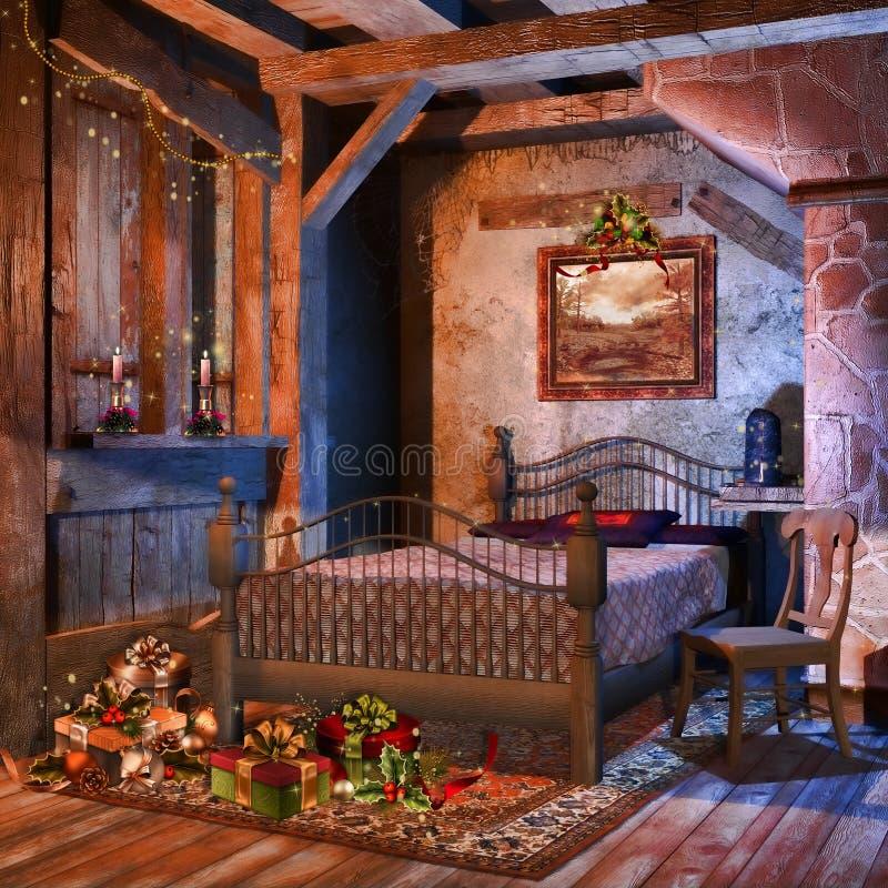 Η παλαιά κρεβατοκάμαρα με παρουσιάζει διανυσματική απεικόνιση