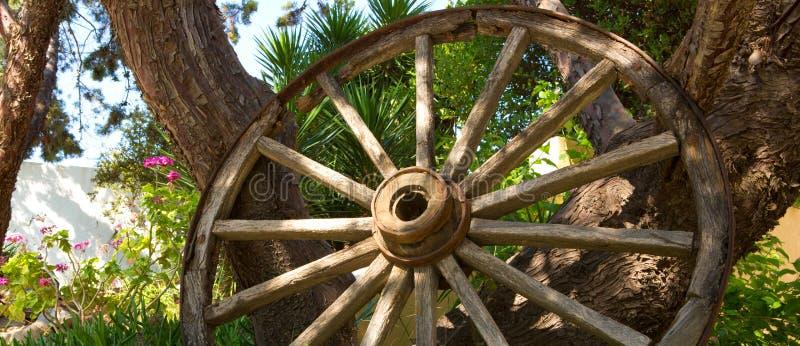 Η παλαιά ξύλινα ρόδα και το δέντρο στοκ φωτογραφίες με δικαίωμα ελεύθερης χρήσης