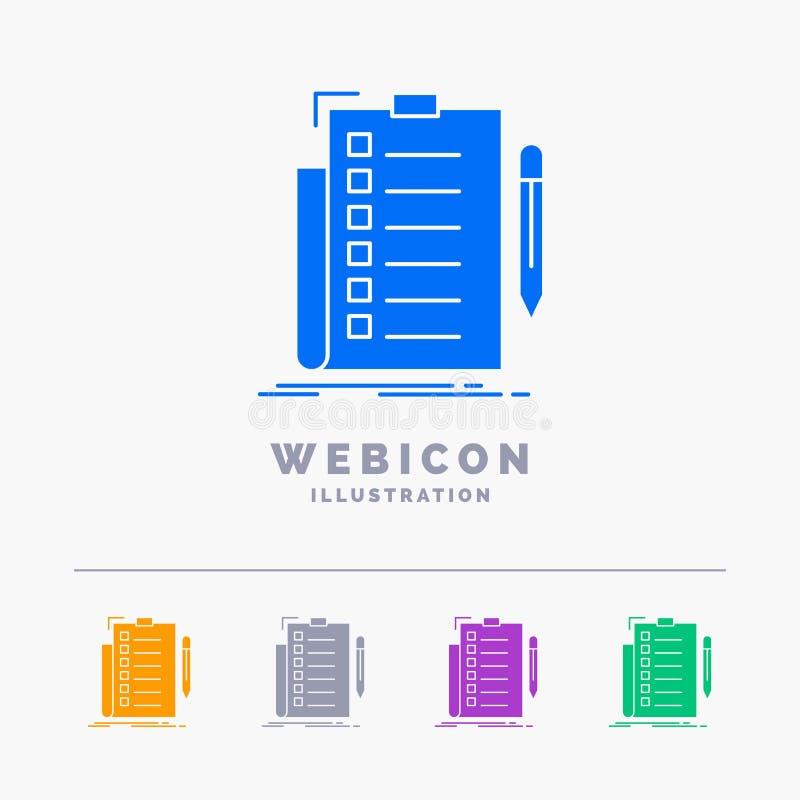 η πείρα, πίνακας ελέγχου, έλεγχος, κατάλογος, το πρότυπο εικονιδίων Ιστού Glyph 5 χρώματος που απομονώνεται τεκμηριώνει στο λευκό διανυσματική απεικόνιση