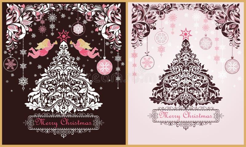 Η περίκομψη εκλεκτής ποιότητας γλυκιά παραλλαγή ευχετήριων καρτών Χριστουγέννων με το floral διακοσμητικό έγγραφο αποκόπτει τα σύ ελεύθερη απεικόνιση δικαιώματος