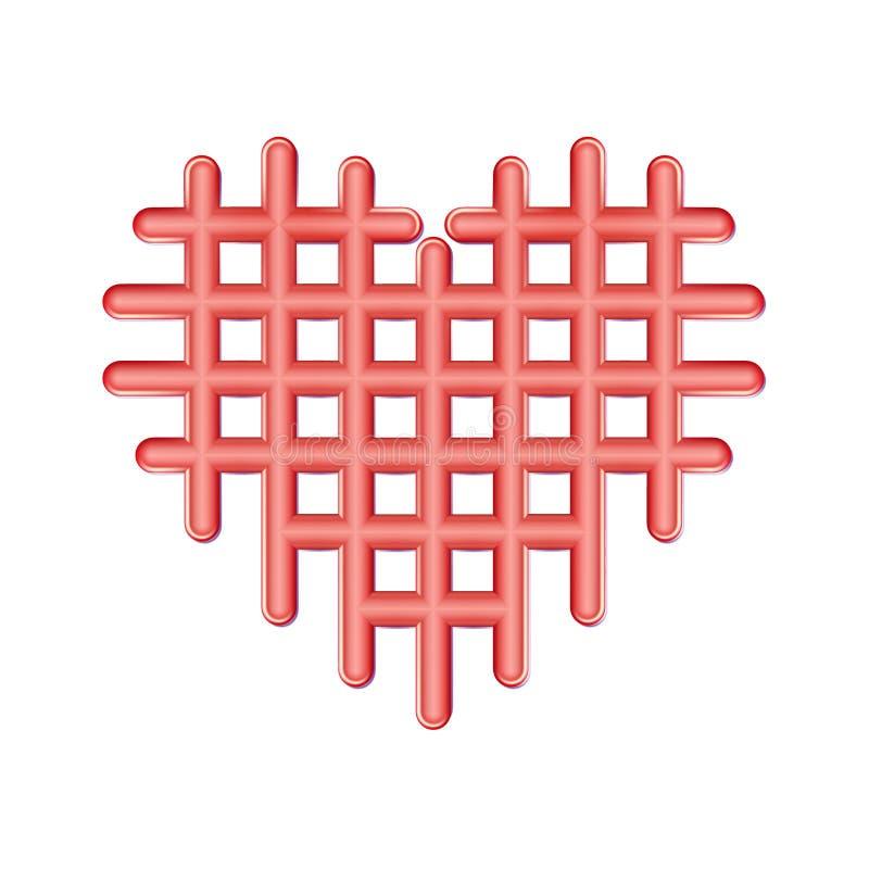 Η περίληψη διατρύπησε το κόκκινο εικονίδιο καρδιών, πλαστικό σύμβολο αγάπης Ελεγμένοι βαλεντίνοι, έμβλημα κυττάρων Ματ απλό εικον ελεύθερη απεικόνιση δικαιώματος