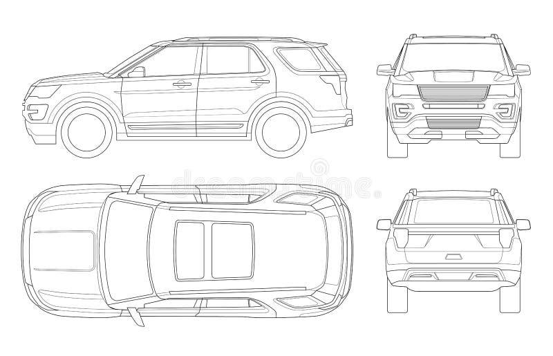 Η περίληψη πλαϊνή γράφει το αυτοκίνητο ή τη σύγχρονη VIP μεταφορά διανυσματική απεικόνιση