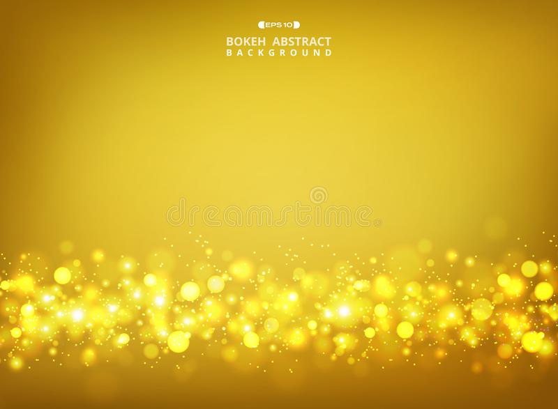 Η περίληψη χρυσού ακτινοβολεί bokeh στο χρυσό υπόβαθρο κλίσης διανυσματική απεικόνιση