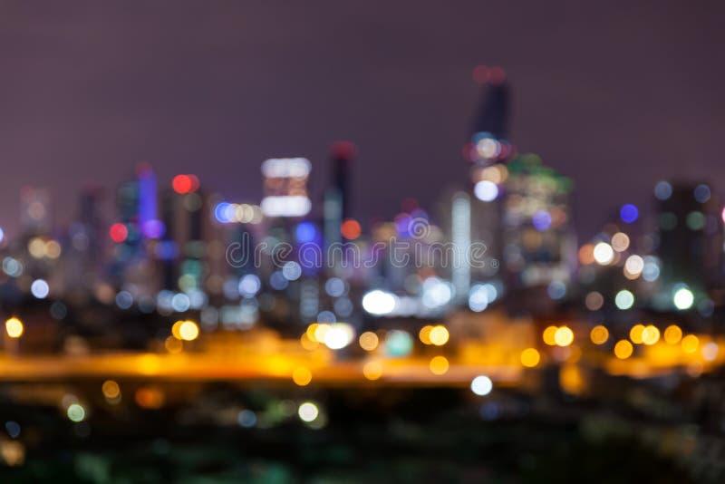 Η περίληψη bokeh το φως περιοχής επιχειρησιακής εικονικής παράστασης πόλης τη νύχτα στοκ εικόνα με δικαίωμα ελεύθερης χρήσης