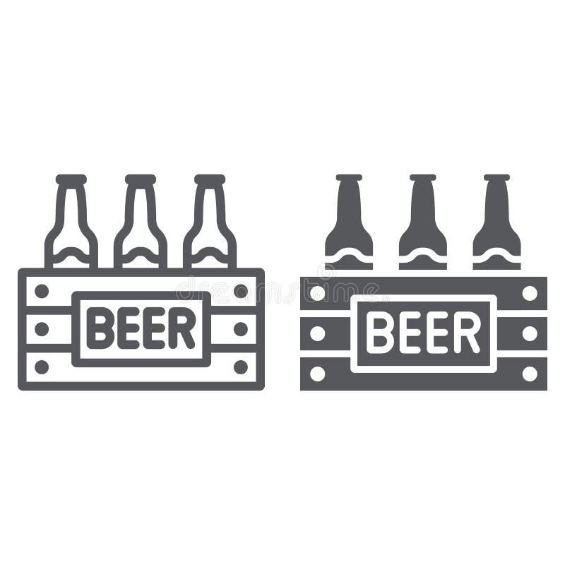 Η περίπτωση της γραμμής μπύρας και glyph το εικονίδιο, το οινόπνευμα και το ποτό, πακέτο των μπουκαλιών μπύρας υπογράφουν, διανυσ απεικόνιση αποθεμάτων