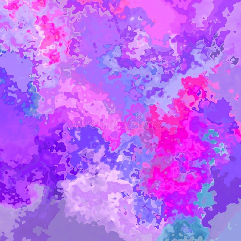 Η περίληψη λεκίασε τα άνευ ραφής γλυκά πορφυρά, ιώδη, ρόδινα, ροδανιλίνης και μπλε χρώματα υποβάθρου σχεδίων - μοντέρνα τέχνη ζωγ απεικόνιση αποθεμάτων