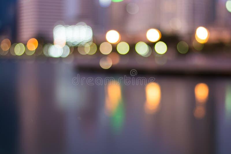 Η περίληψη, ελαφριά θαμπάδα εικονικής παράστασης πόλης νύχτας bokeh, το υπόβαθρο στοκ φωτογραφία με δικαίωμα ελεύθερης χρήσης