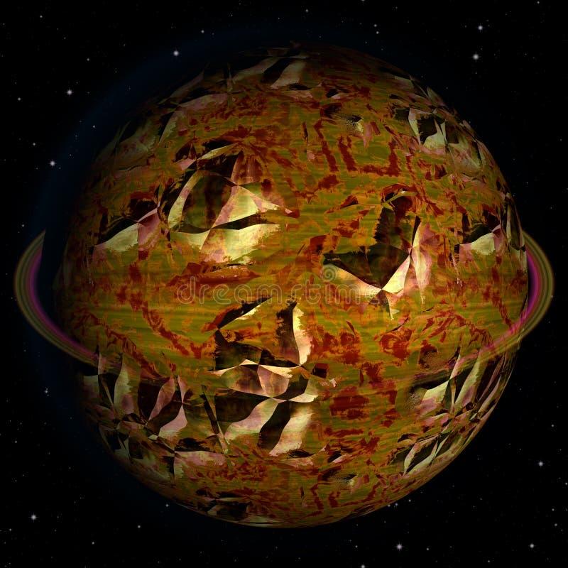Η περίληψη ράγισε το ουράνιο σώμα με τους κρατήρες διανυσματική απεικόνιση