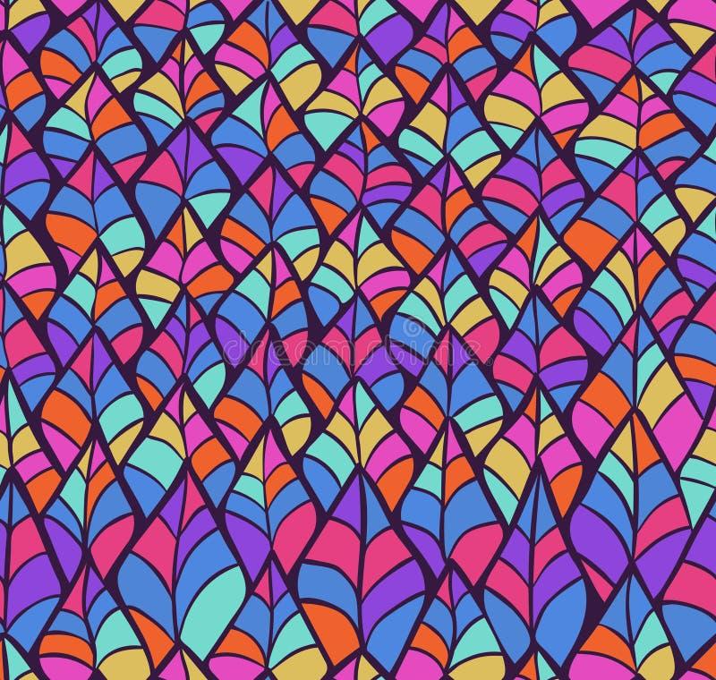 Η περίληψη σκιαγράφησε το ζωηρόχρωμο άνευ ραφής σχέδιο υποβάθρου απεικόνιση αποθεμάτων