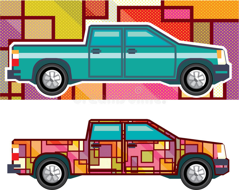Η περίληψη συρρικνώνεται το τυλιγμένο διάνυσμα ανοιχτών φορτηγών διανυσματική απεικόνιση