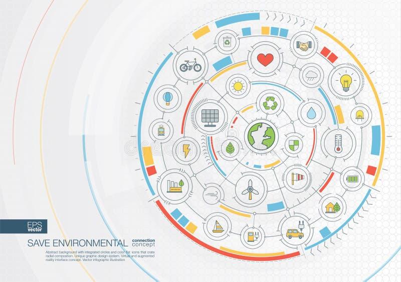 Η περίληψη σώζει το περιβαλλοντικό υπόβαθρο Ψηφιακός συνδέστε το σύστημα με τους ενσωματωμένους κύκλους, επίπεδα εικονίδια χρώματ απεικόνιση αποθεμάτων