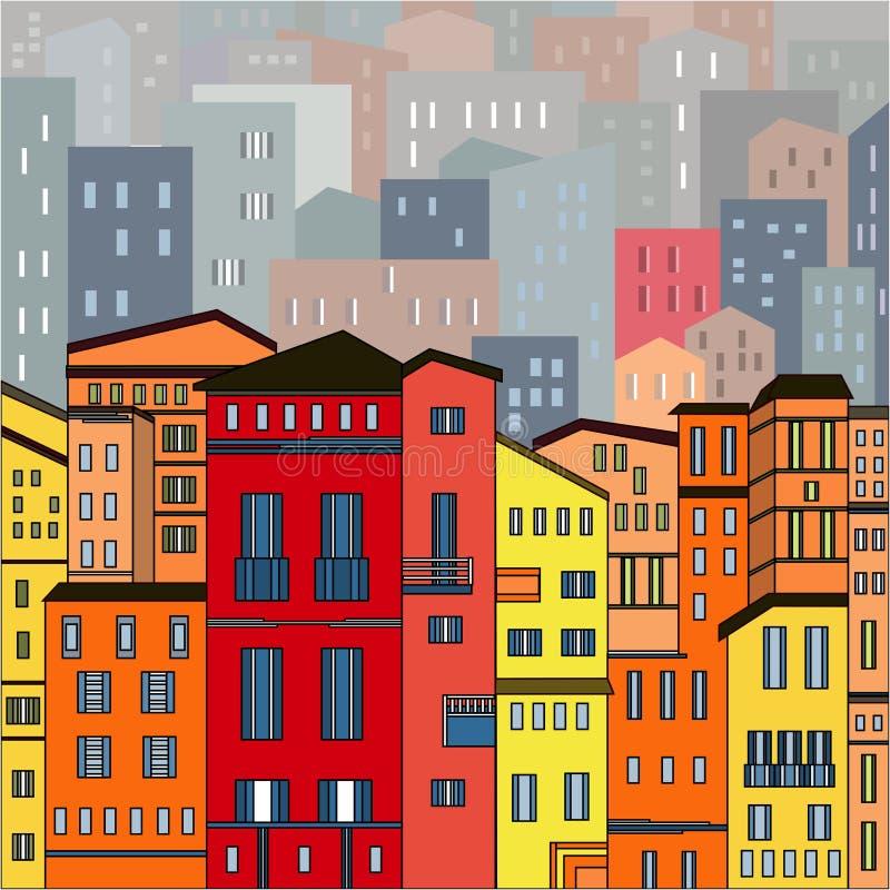 Η περίληψη χρωμάτισε την άποψη πόλεων στις περιλήψεις με πολλά σπίτια και τα κτήρια ως μονό κομμάτι απεικόνιση αποθεμάτων