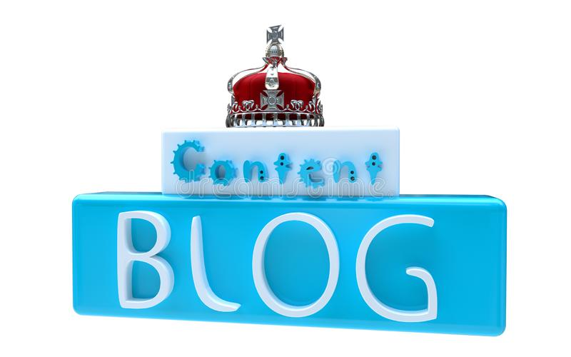 Η περιεκτικότητα σε Blog είναι βασιλιάς στο άσπρο υπόβαθρο στοκ φωτογραφία με δικαίωμα ελεύθερης χρήσης
