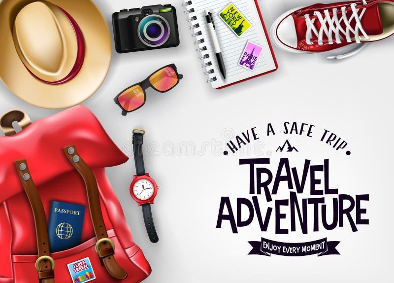 Η περιπέτεια ταξιδιού έχει ένα ασφαλές ταξίδι να απολαύσει κάθε μήνυμα στιγμής στο απομονωμένο υπόβαθρο απεικόνιση αποθεμάτων
