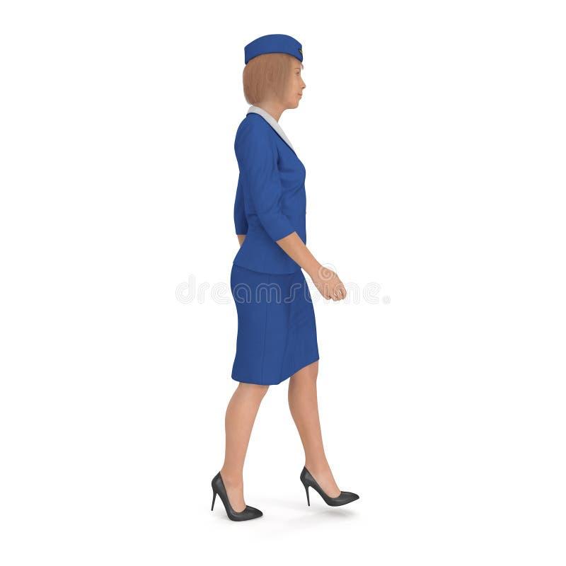 Η περπατώντας αεροσυνοδός έντυσε μπλε σε ομοιόμορφο η τρισδιάστατη απεικόνιση, στο λευκό ελεύθερη απεικόνιση δικαιώματος
