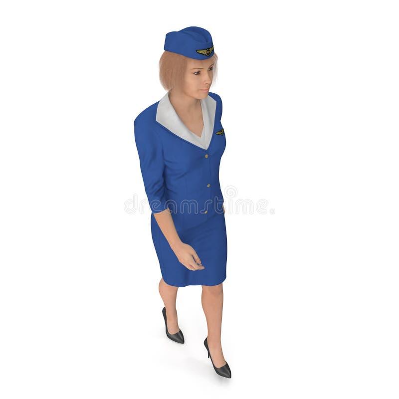 Η περπατώντας αεροσυνοδός έντυσε μπλε σε ομοιόμορφο η τρισδιάστατη απεικόνιση, στο λευκό διανυσματική απεικόνιση