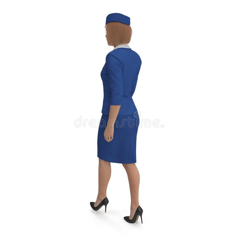 Η περπατώντας αεροσυνοδός έντυσε μπλε σε ομοιόμορφο τρισδιάστατη απεικόνιση που απομονώνεται στο άσπρο υπόβαθρο διανυσματική απεικόνιση