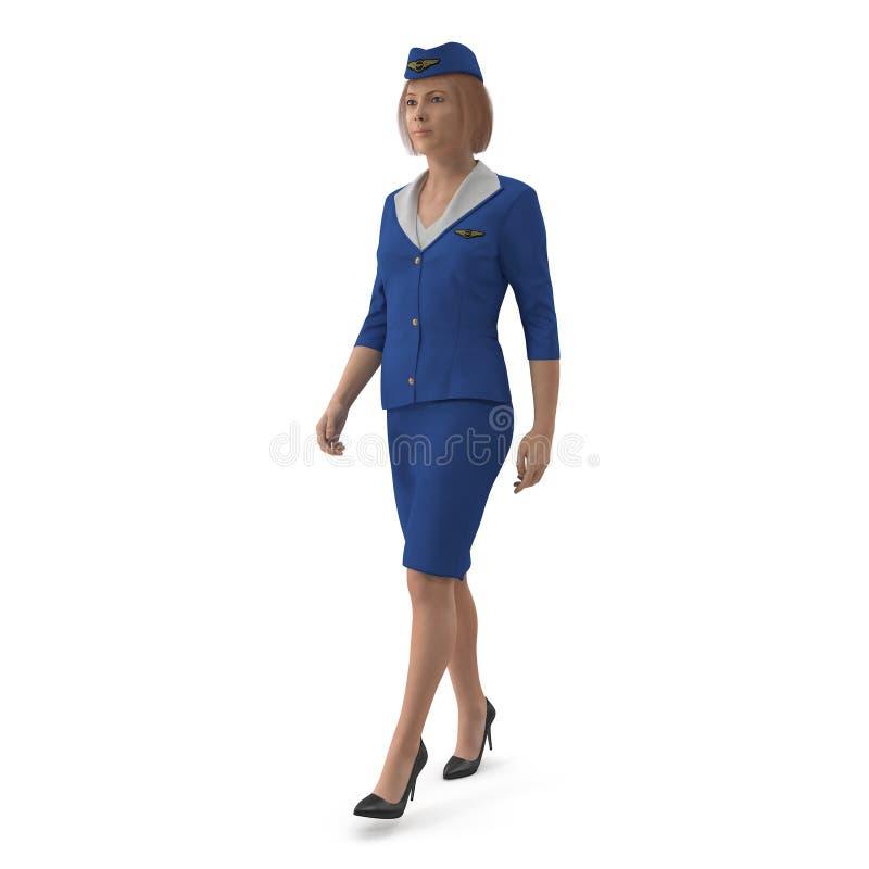 Η περπατώντας αεροσυνοδός έντυσε μπλε σε ομοιόμορφο τρισδιάστατη απεικόνιση που απομονώνεται στο άσπρο υπόβαθρο ελεύθερη απεικόνιση δικαιώματος