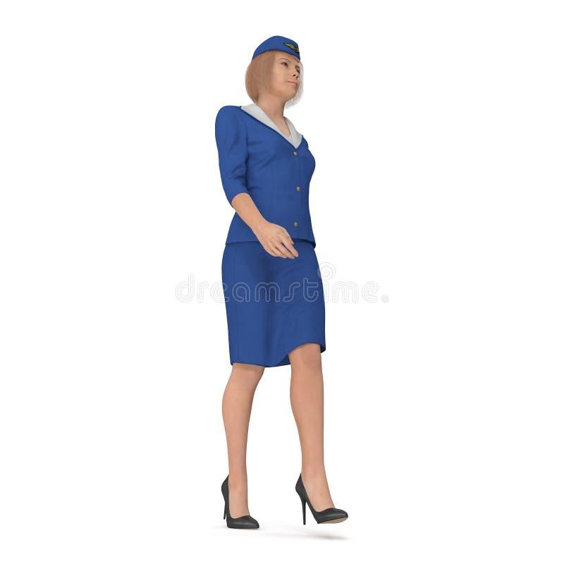 Η περπατώντας αεροσυνοδός έντυσε μπλε σε ομοιόμορφο τρισδιάστατη απεικόνιση που απομονώνεται στο άσπρο υπόβαθρο απεικόνιση αποθεμάτων