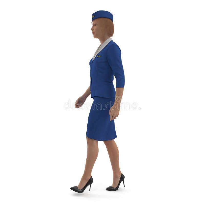 Η περπατώντας αεροσυνοδός έντυσε μπλε σε ομοιόμορφο τρισδιάστατη απεικόνιση που απομονώνεται στο άσπρο υπόβαθρο, πλάγια όψη απεικόνιση αποθεμάτων