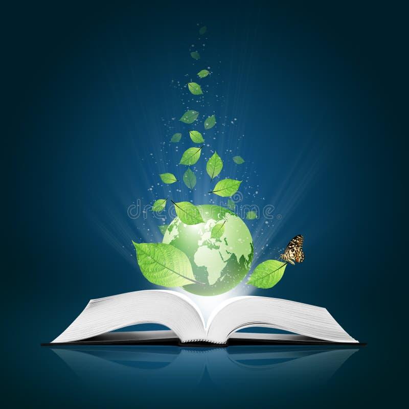 η πεταλούδα βιβλίων πράσινη έχει τον κόσμο φύλλων στοκ φωτογραφία με δικαίωμα ελεύθερης χρήσης
