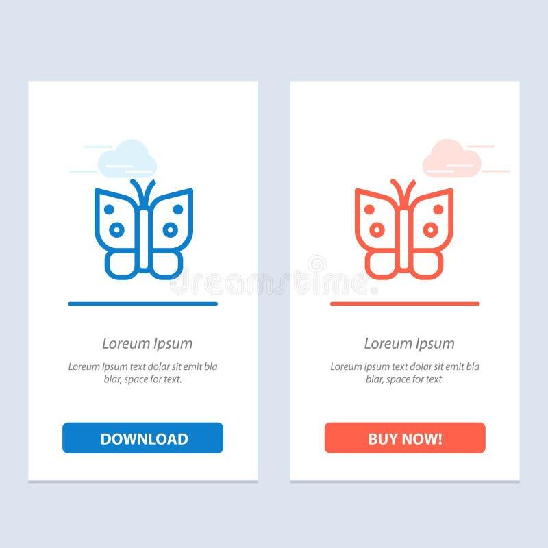 Η πεταλούδα, ελευθερία, έντομο, φτερά μπλε και κόκκινο μεταφορτώνει και αγοράζει τώρα το πρότυπο καρτών Widget Ιστού ελεύθερη απεικόνιση δικαιώματος