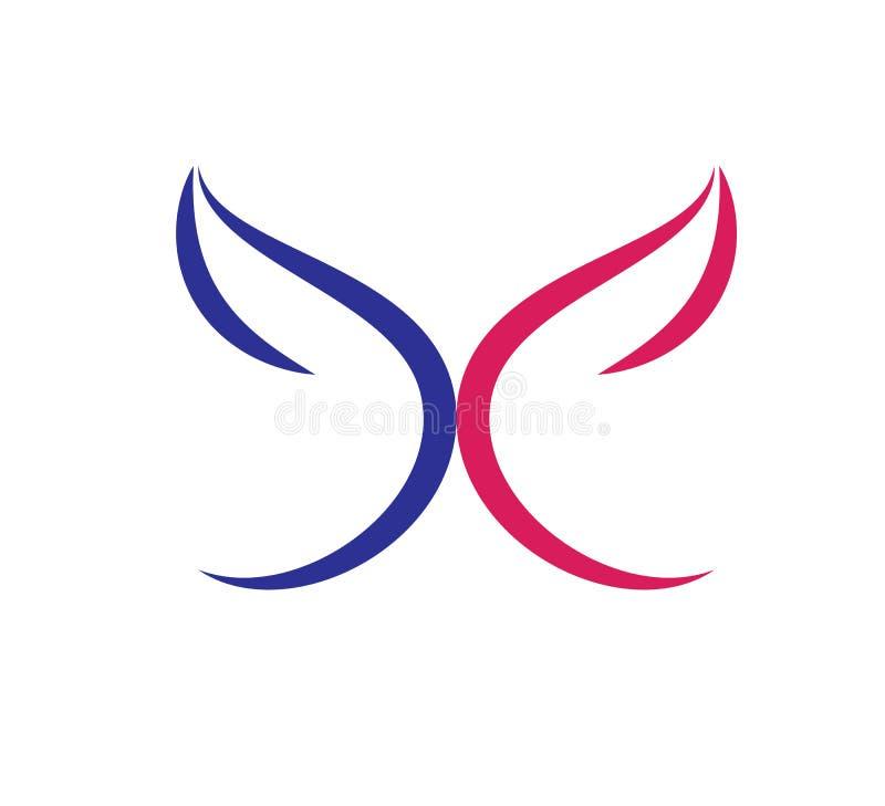 Η πεταλούδα, λογότυπο, καρδιά, ομορφιά, χαλαρώνει, αγαπά, φτερά, γιόγκα, τρόπος ζωής, αφηρημένο διάνυσμα εικονιδίων συμβόλων πετα ελεύθερη απεικόνιση δικαιώματος