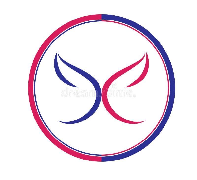 Η πεταλούδα, λογότυπο, καρδιά, ομορφιά, χαλαρώνει, αγαπά, φτερά, γιόγκα, τρόπος ζωής, αφηρημένο διάνυσμα εικονιδίων συμβόλων πετα διανυσματική απεικόνιση