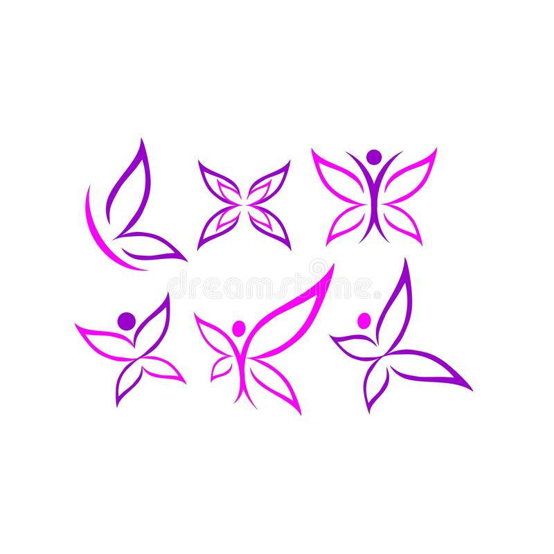 Η πεταλούδα, λογότυπο, ομορφιά, SPA, τρόπος ζωής, προσοχή, χαλαρώνει, γιόγκα, περίληψη, φτερά, σύνολο διανύσματος σχεδίου εικονιδ απεικόνιση αποθεμάτων